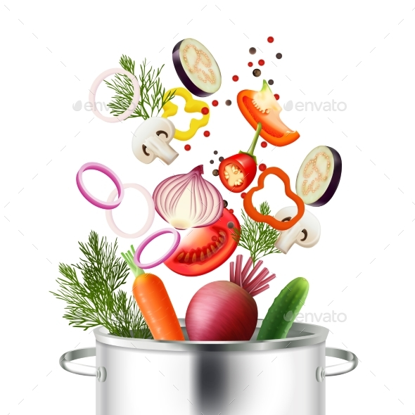 Vegetables and Pot Concept - Food Objects