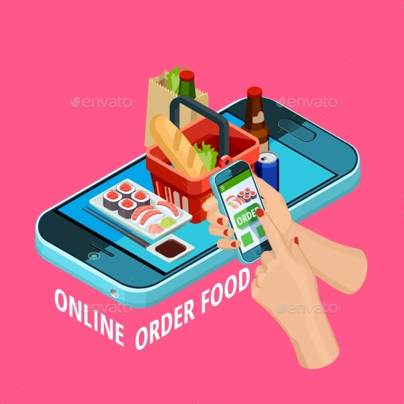 Online Food Order Isometric Ecommerce Poster - Food Objects