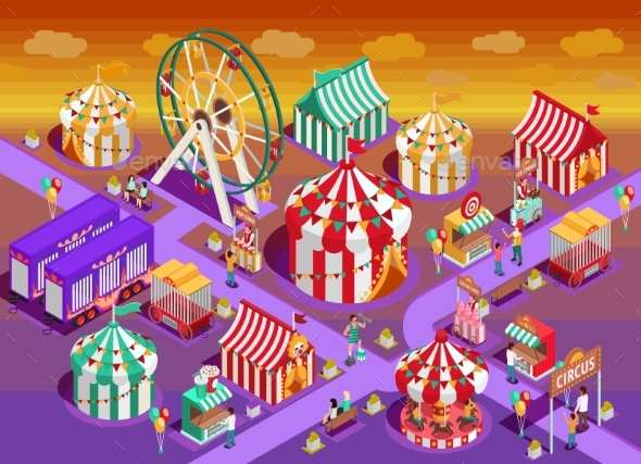 Amusement Park Circus Attractions Isometric - Industries Business
