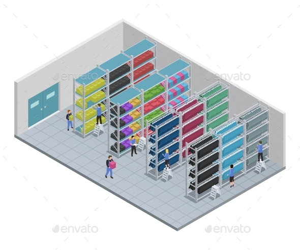 Clothes Sewing Isometric Composition - Buildings Objects