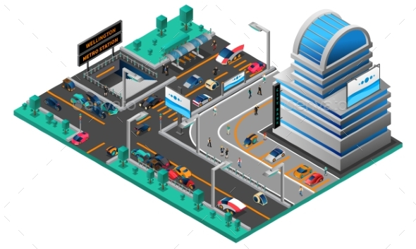 Futuristic Cityscape Isometric Composition - Buildings Objects