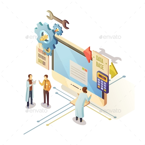 Database Isometric Illustration - Concepts Business