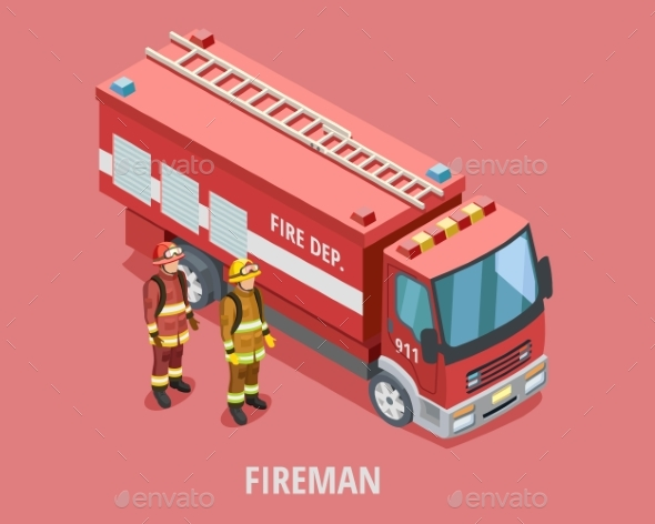 Profession Fireman Isometric Template - People Characters