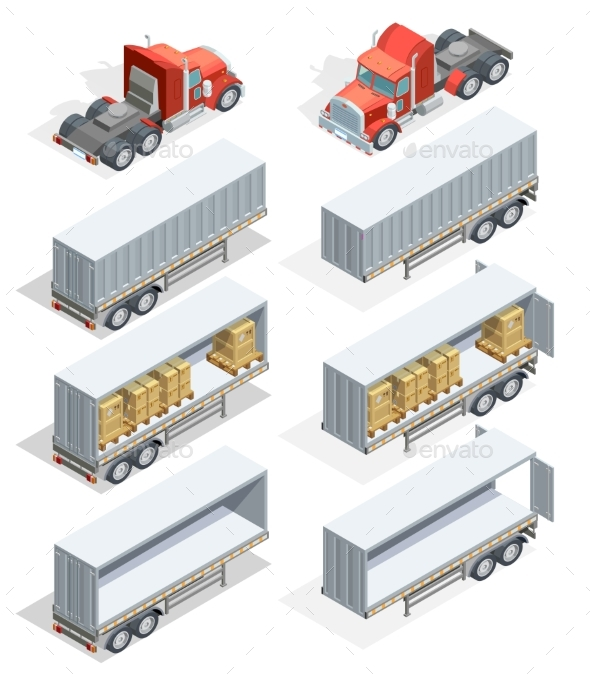 Truck Isometric Icon Set - Man-made Objects Objects