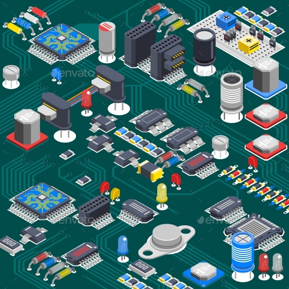 Isometric Circuit Board Composition - Computers Technology