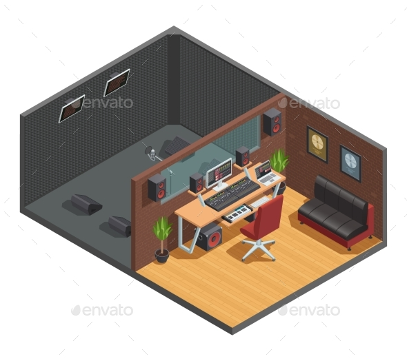 Soundbox Interior Isometric Composition - Buildings Objects
