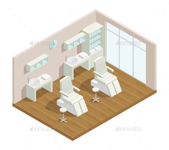 Cosmetology Studio Isometric Interior - Services Commercial / Shopping