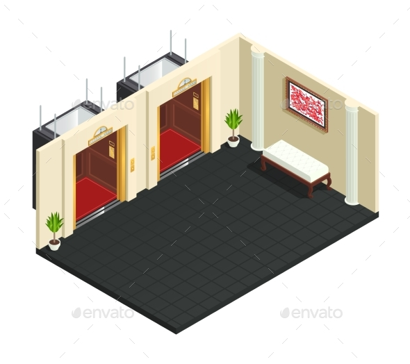 Lift Lobby Isometric Interior - Buildings Objects