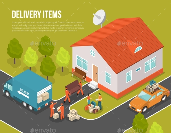 Delivery Moving New Settler Illustration - Services Commercial / Shopping