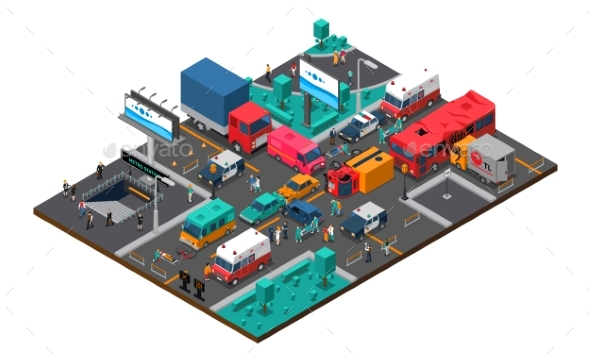 Accident on Crossroad Isometric Illustration - Man-made Objects Objects