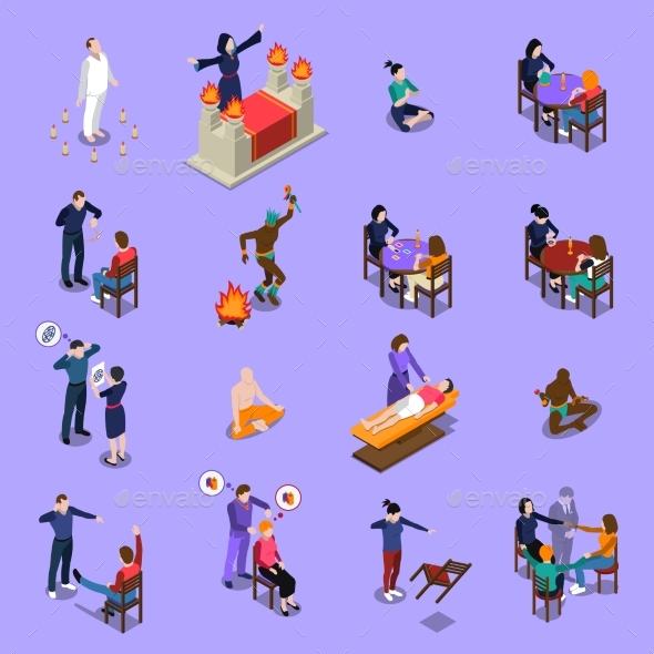 Paranormal Abilities Isometric Set - People Characters