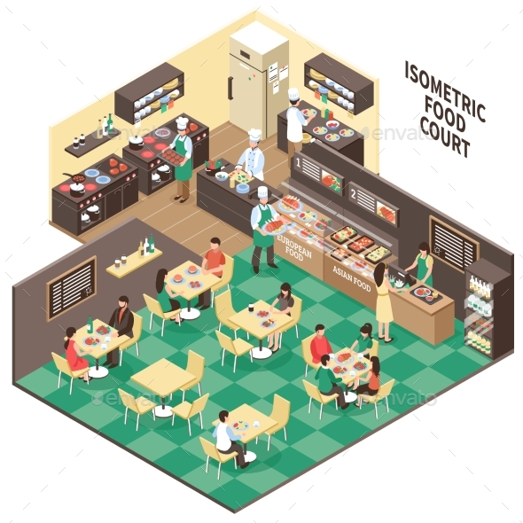 Isometric Fastfood Restaurant Interior - Food Objects