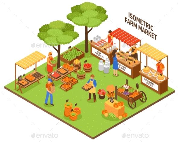 Trade Fair Market Illustration - Food Objects