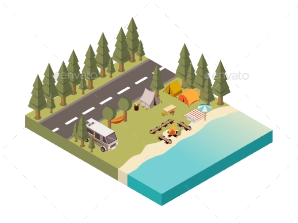 Camp Between Road and Lake Illustration - Sports/Activity Conceptual