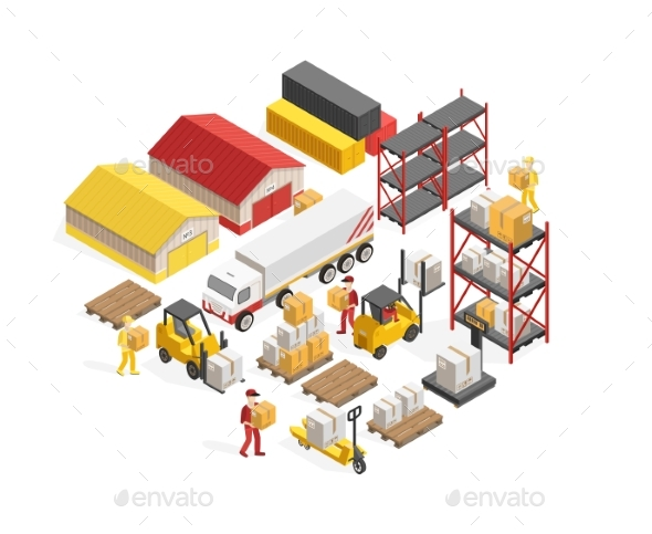 Warehouse Logistics Isometric Concept - Industries Business