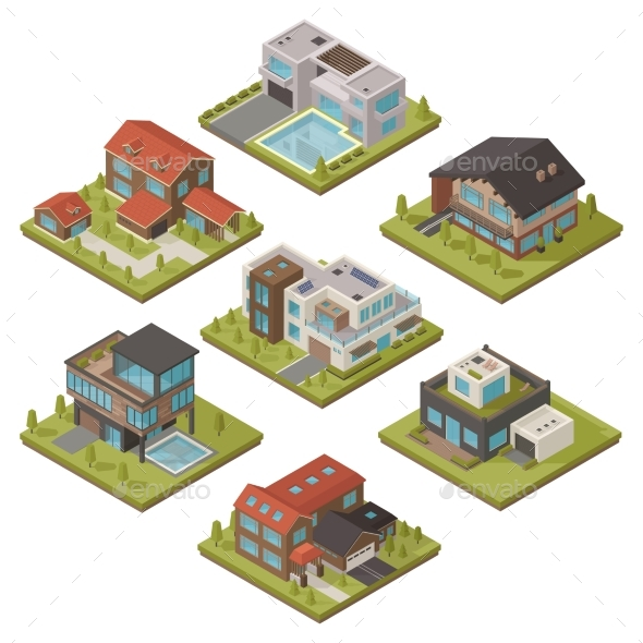 Isometric House Icon Set - Buildings Objects
