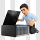 3D Information Technology Technician Repairing a Server - GraphicRiver Item for Sale