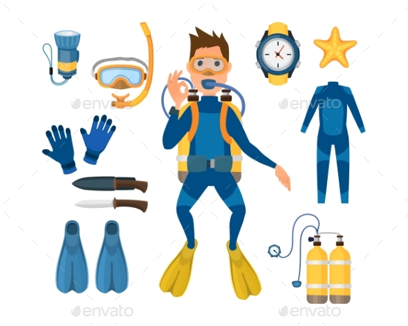 Spearfishing Diving Equipment Vector Set - People Characters