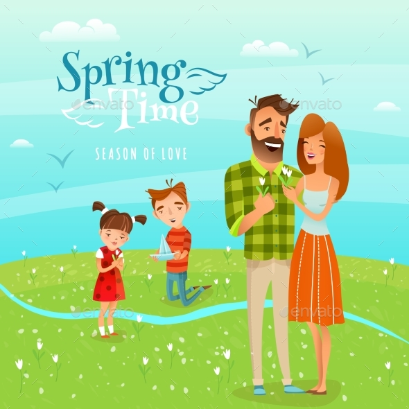 Family and Season Spring Illustration - Seasons Nature