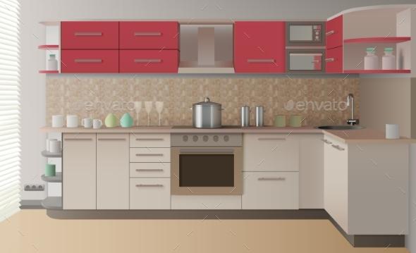 Realistic Kitchen Interior - Backgrounds Decorative