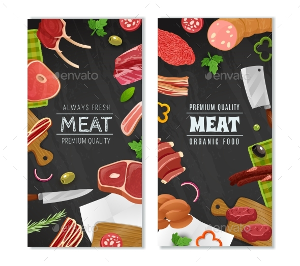Meat Market Banners Set - Food Objects