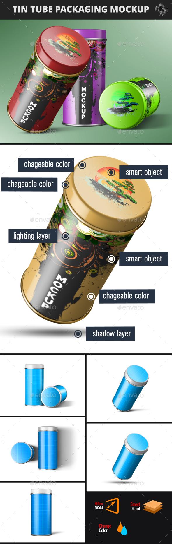 Tin Tube Can Mockup - Product Mock-Ups Graphics