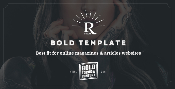 Regular - Bold Content Blog & Online Magazine Website Template - Entertainment Site Templates