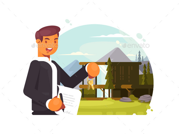 Successful Realtor Sells Property - People Characters