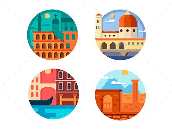Italy Icon Set - Web Elements Vectors