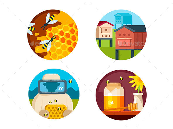 Apiary Icons Set - Web Elements Vectors