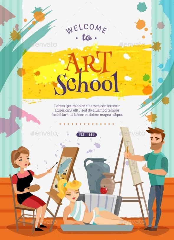 Visual Art School Classes Offer  Poster - Miscellaneous Vectors