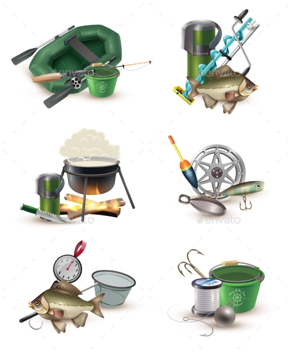 Fishing Gear Accessories 6 Icons Set - Sports/Activity Conceptual