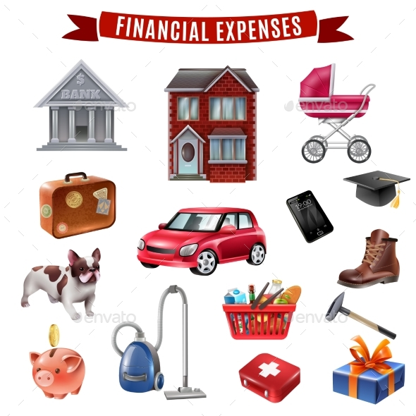 Family Expenses Flat Icons Collection - Miscellaneous Vectors
