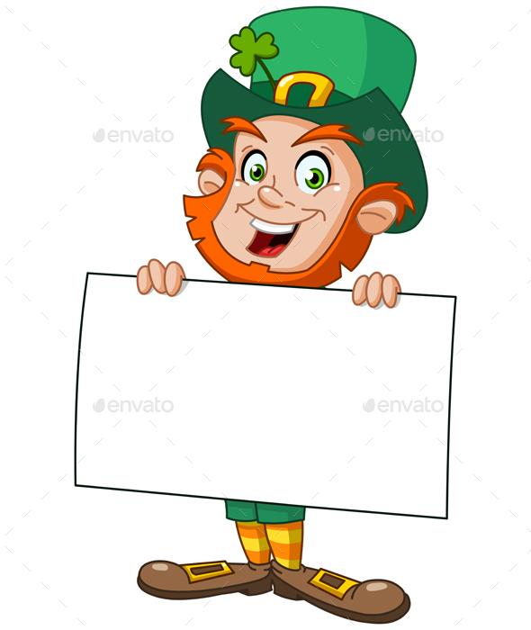 Leprechaun with Sign - Miscellaneous Seasons/Holidays