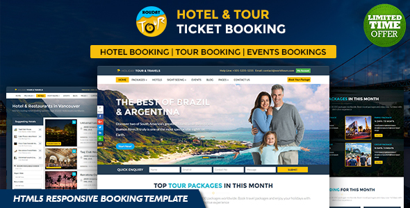 Holiday – Hotel, Tour and Travels Online Ticket Booking HTML5 Responsive Template