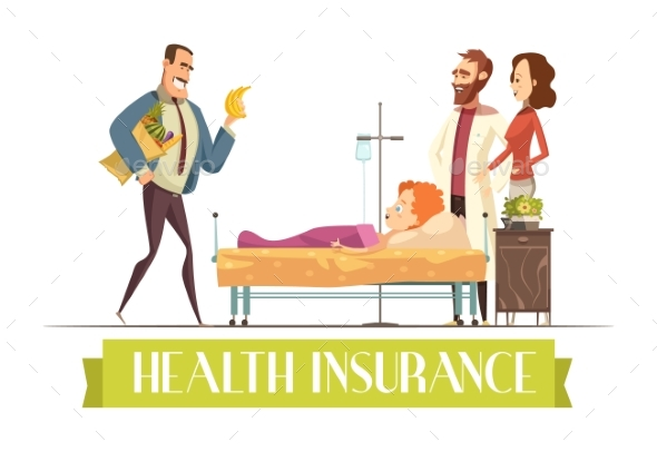 Heath Insurance Agent Work Cartoon Illustration - Health/Medicine Conceptual