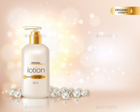 Pump Top Bottle With Organic Cosmetic Lotion - Man-made Objects Objects