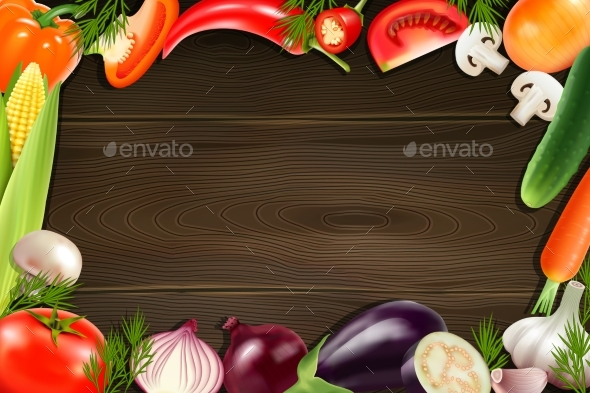 Vegetables Wooden Background - Food Objects