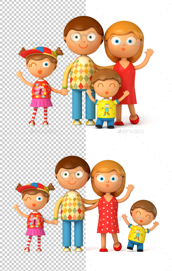 Funny Puppet Family - Characters 3D Renders
