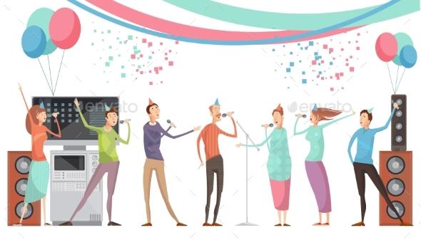 Karaoke Party Flat - People Characters