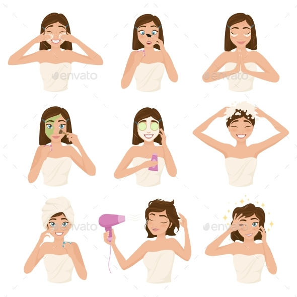 Woman Morning Routine Icon Set - People Characters