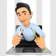 3D Information Technology Technician Coming Out a Laptop Screen with a Wrench and a Screwdriver - GraphicRiver Item for Sale