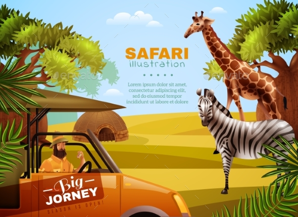 Safari Colored Poster - Travel Conceptual
