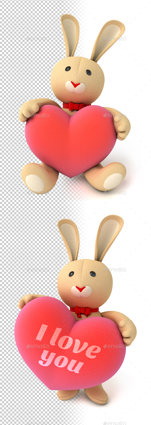 Plush Bunny Holding Heart - Characters 3D Renders
