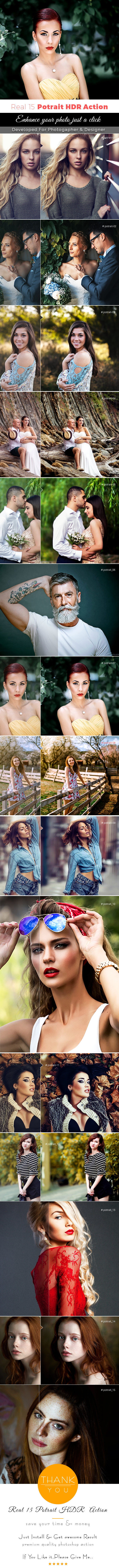 Real 15 Potrait HDR Action - Photo Effects Actions
