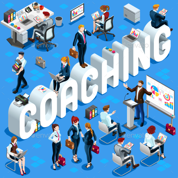 isometric people coaching icon 3d set vector illustration by aurielaki
