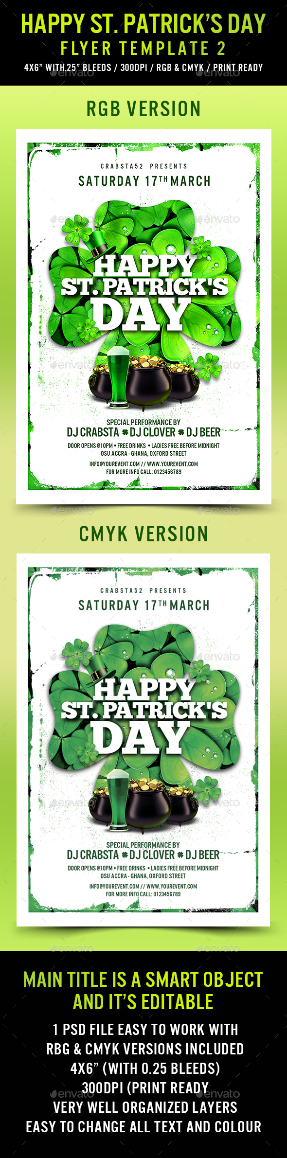 Happy St. Patrick's Day Flyer Template 2 - Flyers Print Templates