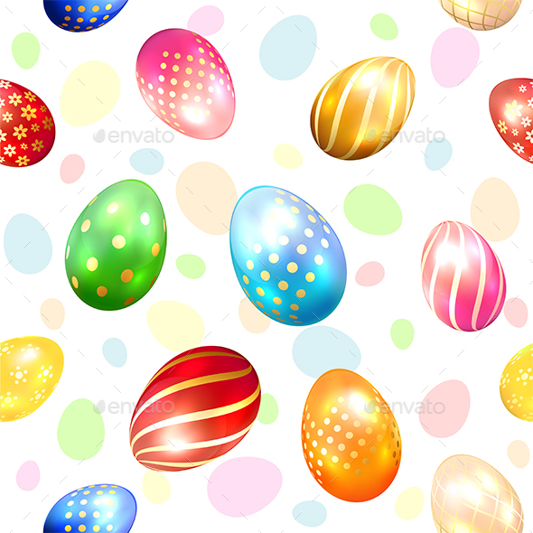 Seamless Background with Colorful Easter Eggs - Miscellaneous Seasons/Holidays