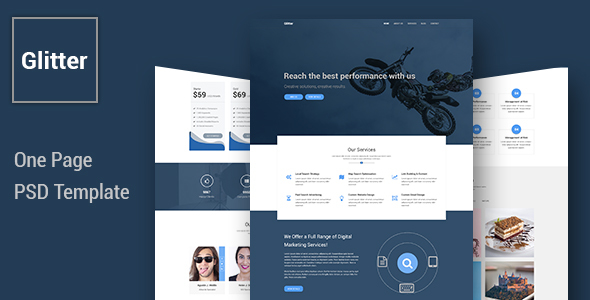 Glitter – One Page Multipurpose Business PSD Template