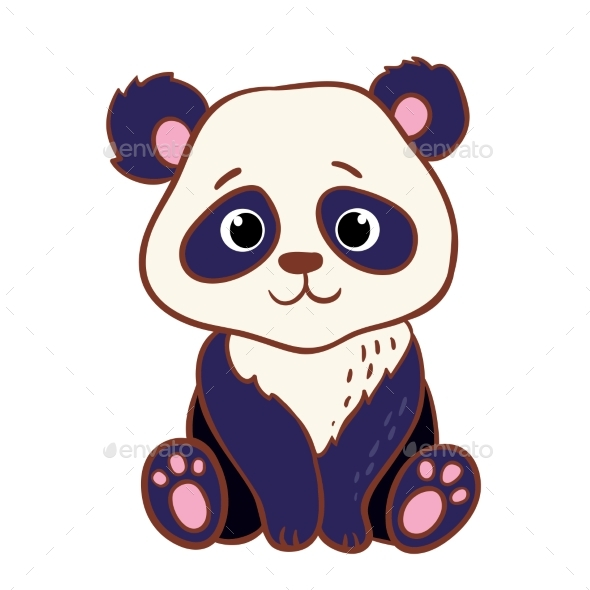 Panda Sitting on a White Background - Animals Characters